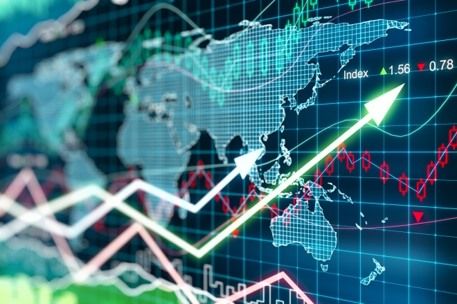 Business chart with glowing arrows and world map