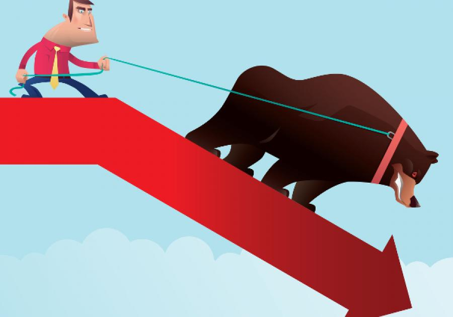 Man taming a bear on down arrow