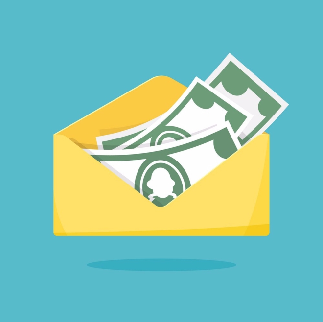 Envelope with money. Yellow paper open envelope with dollars. Vector illustration flat