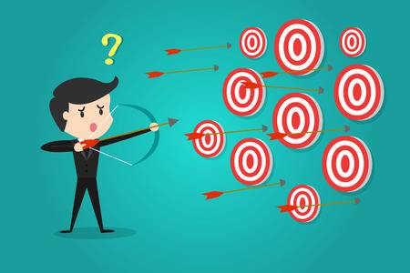 83391379-stock-vector-a-successful-businessman-aiming-target-with-bow-and-arrow-can-not-decide-which-target-to-shoot-at-